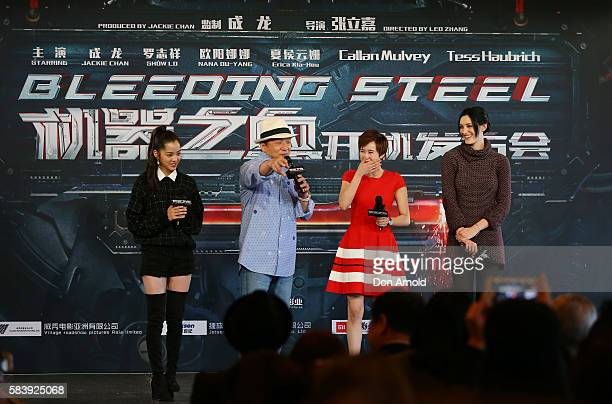 Nana OuyangErica Xiahou and Tess Haubrich share a laugh as Jackie Chan addresses media during a press conference and photocall for Bleeding Steel at...