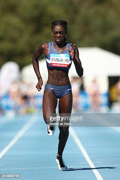 Nana OwusuAfriyie of Vic competes in the women 100 metre u20 heats during the Australian Junior Athletics Championships at WA Athletics Stadium on...