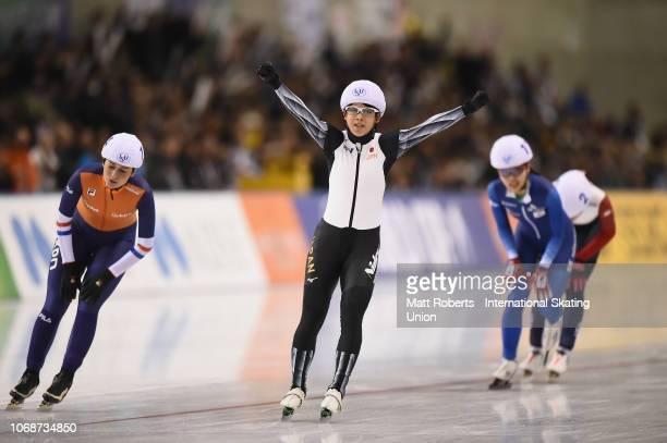 Nana Tagaki of Japan celebrates winning the Women's Mass Start Final on day two of the ISU World Cup Speed Skating at Meiji HokkaidoTokachi Oval on...