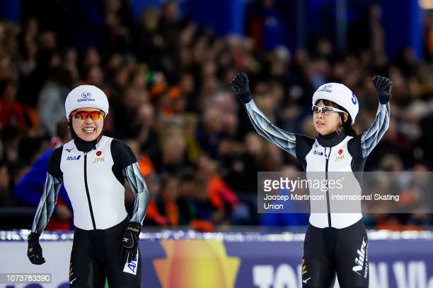 Nana Takagi and Ayano Sato of Japan celebrate in the Ladies Mass Start during ISU World Cup Speed Skating Heerenveen at Thialf on December 15 2018 in...