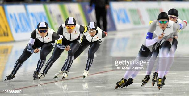 Nana Takagi Ayano Sato and Miho Takagi of Japan compete against Germany in the Women's Team Pursuit on day one of the ISU World Cup Speed Skating at...
