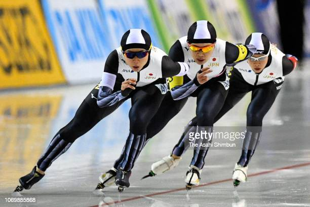 Nana Takagi Ayano Sato and Miho Takagi of Japan compete against Germany on day one of the ISU World Cup Speed Skating at Meiji HokkaidoTokachi Oval...