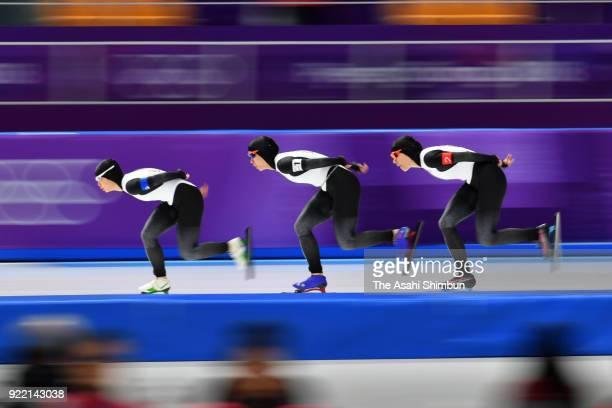 Nana Takagi Miho Takagi and Ayaka Kikuchi of Japan compete in the Speed Skating Women's Team Pursuit Semifinal against Canada on day twelve of the...