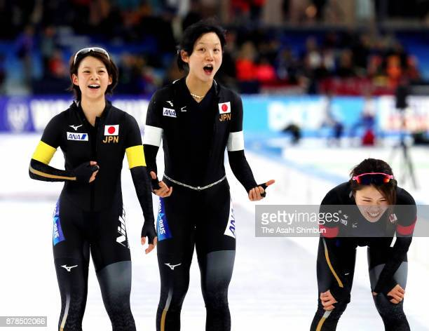Nana Takagi Miho Takagi and Ayano Sato of Japan celebrate winning the gold medal with the new world record in the Women's Team Pursuit during day one...