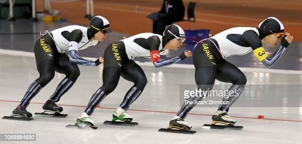 Nana Takagi Miho Takagi and Ayano Sato of Japan compete in the Women's Team Pursuit on day one of the ISU World Cup Speed Skating at Meiji...