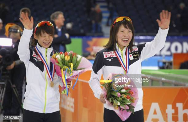 Nana Takagi of Japan acknowledges spectators after winning the women's mass start final at the World Cup event in Heerenveen the Netherlands in the...