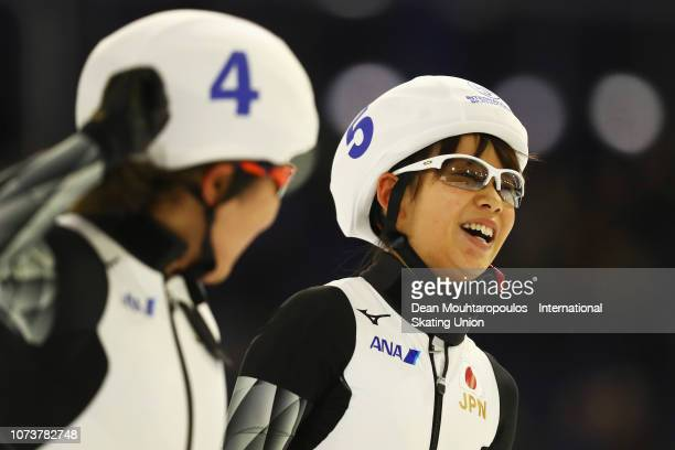 Nana Takagi of Japan celebrates after she wins the Mass Start Final Ladies with Ayano Sato of Japan during the ISU Speed Skating Long Track World Cup...