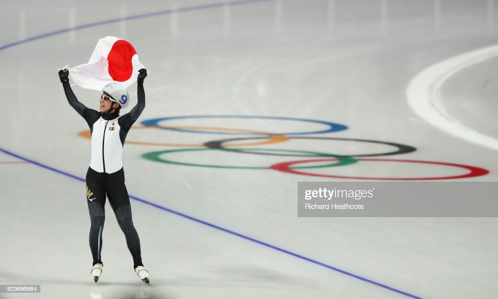 Nana Takagi of Japan celebrates after winning the gold medal during the Ladies' Speed Skating Mass Start Final on day 15 of the PyeongChang 2018 Winter Olympic Games at Gangneung Oval on February 24, 2018 in Gangneung, South Korea.