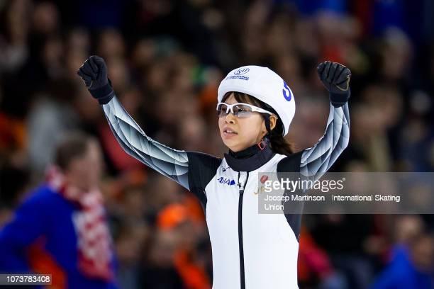 Nana Takagi of Japan celebrates in the Ladies Mass Start during ISU World Cup Speed Skating Heerenveen at Thialf on December 15 2018 in Heerenveen...