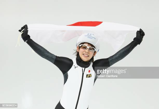 Nana Takagi of Japan celebrates winning gold during the Ladies' Speed Skating Mass Start Final on day 15 of the PyeongChang 2018 Winter Olympic Games...