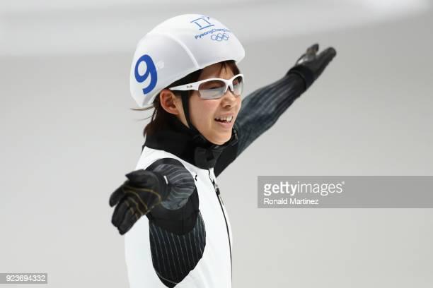 Nana Takagi of Japan celebrates winning the gold medal during the Ladies' Speed Skating Mass Start Final on day 15 of the PyeongChang 2018 Winter...