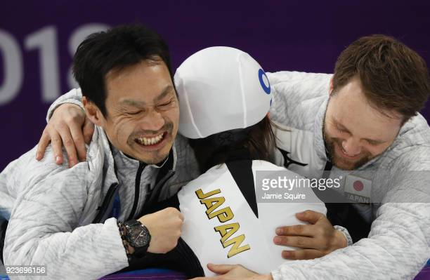 Nana Takagi of Japan celebrates with her team after winning the gold medal during the Ladies' Speed Skating Mass Start Final on day 15 of the...