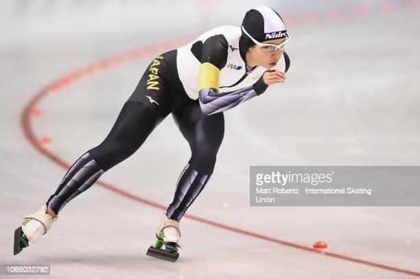 Nana Takagi of Japan competes during the Women's 3000m Division B race on day three of the ISU World Cup Speed Skating at Meiji HokkaidoTokachi Oval...