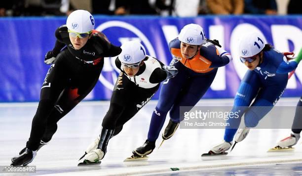 Nana Takagi of Japan competes in the Women's Mass Start on day two of the ISU World Cup Speed Skating at Meiji HokkaidoTokachi Oval on November 17...