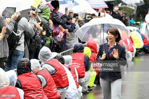 Nana Takagi waves to fans during the homecoming ceremony on May 6 2018 in Sapporo Hokkaido Japan