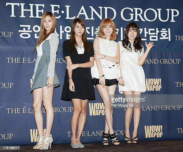 Nana Uie Lizzy and Raina of South Korean girl group After School attend during the ELand Group press conference at the Lexington Hotel on August 27...
