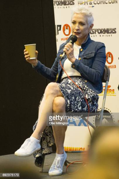 Nana Visitor participates in an open format QA with fans at The Birmingham Film and Comic Con Collectormaina 24 at NEC Arena on June 4 2017 in...
