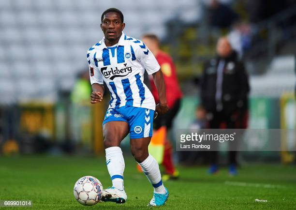 Nana Welbeck of OB Odense controls the ball during the Danish Alka Superliga match between OB Odense and Randers FC at EWII Park on April 18, 2017 in...