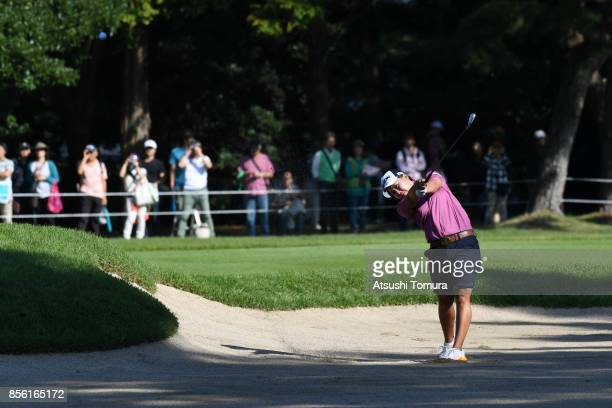 Nana Yamashiro of Japan hits from a bunker on the 1st hole during the final round of Japan Women's Open 2017 at the Abiko Golf Club on October 1 2017...