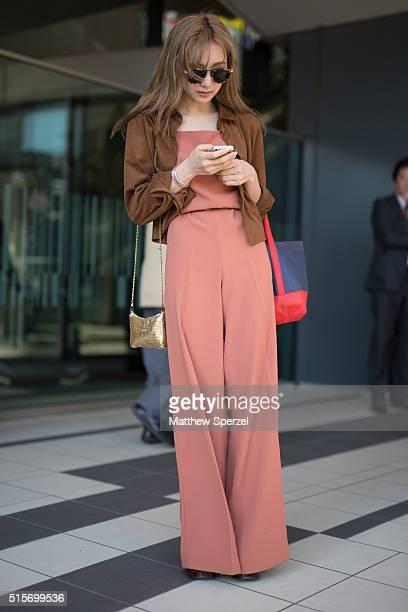 Nanako Momosaka attends the Hanae Mori Manuscrit show during Tokyo Fashion WeekÊon March 15 2016 in Tokyo JapanÊ