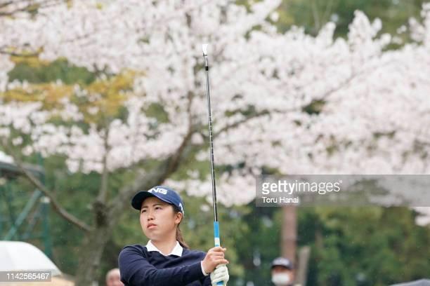 Nanako Ueno of Japan hits a tee shot on the 13th hole during the final round of the Hanasaka Ladies Yanmar Golf Tournament at Biwako Country Club on...