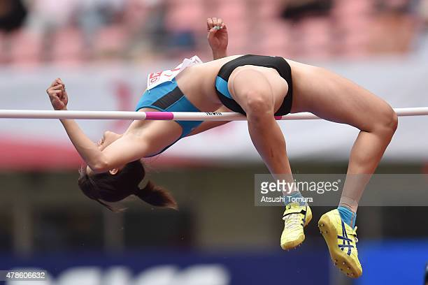 Nanami Inoue of Japan competes in the Womens High Jump final during the 99th Japan Athletics National Championships at Denka Big Swan Stadium on June...