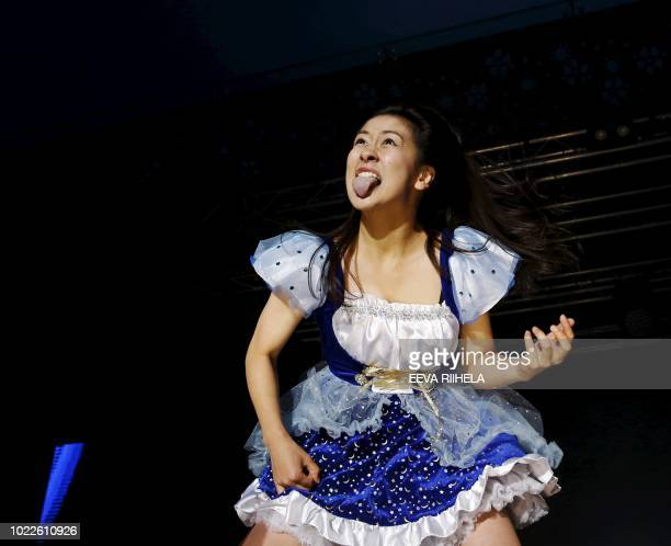 Nanami 'Seven Seas' Nagura from Japan performs during the Air Guitar World Championships final in Oulu Finland on August 24 2018 / Finland OUT