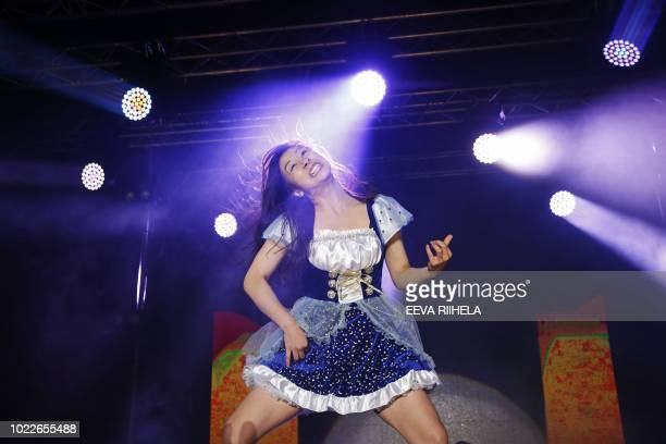 Nanami 'Seven Seas' Nagura from Japan won the Air Guitar World Championships final in Oulu Finland on August 24 2018 / Finland OUT