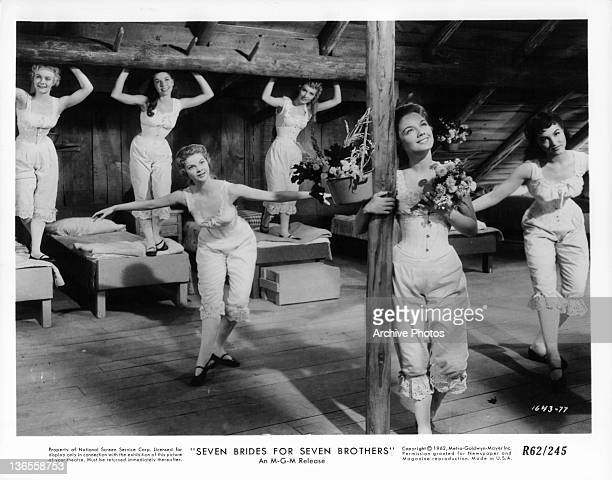Nancey Kilgas Betty Carr Ruta Kilmonis Julie Newmeyer Virginia Gibson and Norma Doggett all dancing in their under garments in a scene from the film...