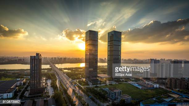 Nanchang city at sunset with modern skyscrapers, Jiangxi Province, China