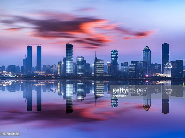 nanchang skyline at night - jiangxi province stock photos and pictures