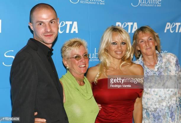 Nanci Alexander,Pamela Anderson and PETA President Ingrid E. Newkirk