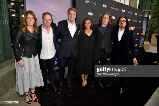 Nancy Abraham Roee Sharon Mathew Schmid Leila Conners Harun Mehmedinovic and George DiCaprio attend the LA Premiere of HBO's 'Ice On Fire' at LACMA...