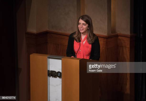 Nancy Abraham speaks during the HBO Documentary Screening of A Dangerous Son at HBO Theater on May 2 2018 in New York City