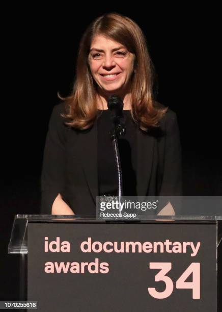 Nancy Abraham speaks onstage during the 2018 IDA Documentary Awards on December 8 2018 in Los Angeles California