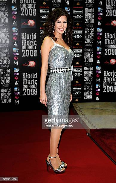 Nancy Ajram arrives for the World Music Awards 2008 at the Monte Carlo Sporting Club on November 9 2008 in Monte Carlo Monaco