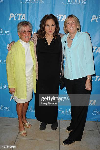 Nancy Alexander Kathy Najimy and Ingrid Newkirk pose during a PETA event and receives animal protection award at Sublime Restaurant on October 12...