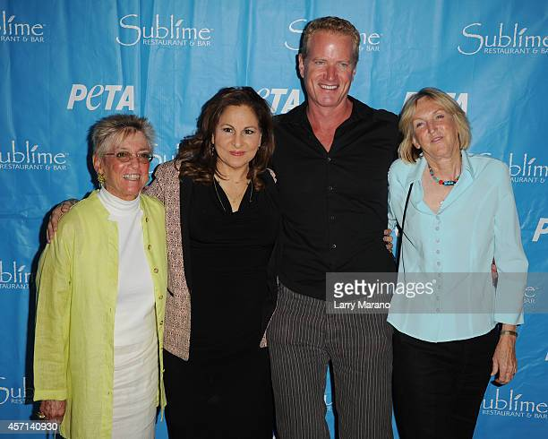 Nancy Alexander Kathy Najimy Dan Mathews and Ingrid Newkirk pose during a PETA event and receives animal protection award at Sublime Restaurant on...