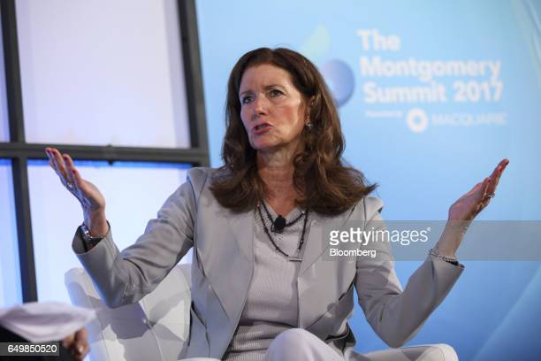 Nancy Altobello global vice chair of talent at Ernst Young LLP speaks during the Montgomery Summit in Santa Monica California US on Wednesday March 8...