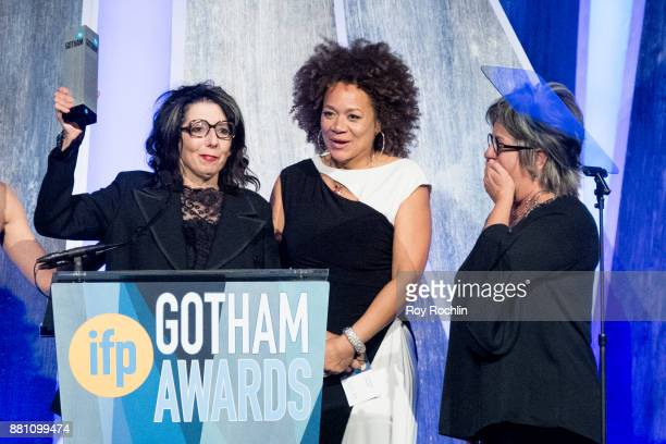 Nancy Andrews and Micole Briana White speaks onstage during IFP's 27th Annual Gotham Independent Film Awards at Cipriani Wall Street on November 27...