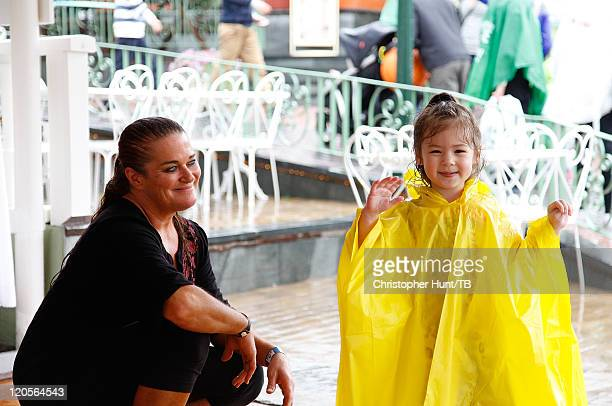 Nancy Beatie and her daughter Susan enjoy a day at Grona Lund amusement park on August 7 2011 in Stockholm Sweden