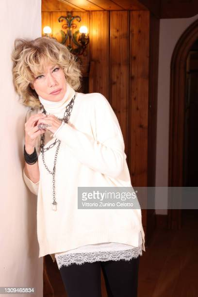 Nancy Brilli poses during Cortinametraggio 2021 at Hotel Victoria Park on March 27, 2021 in Cortina d'Ampezzo, Italy.