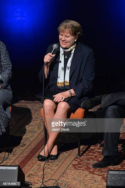 Nancy Cardwell speaks during a Rememberance panel during the 9th Annual Louis Scruggs Memorial Forum Honoring Dixie Hall at Country Music Hall of...