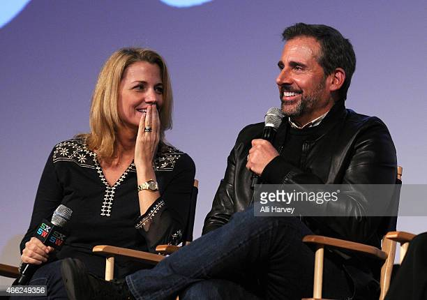 Nancy Carell and Steve Carell attend a QA at the TBS Angie Tribeca Premiere at SXSW at Austin Convention Center on March 14 2015 in Austin Texas