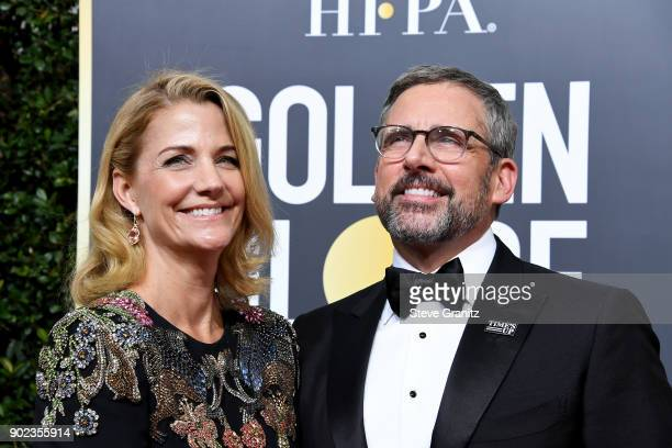 Nancy Carell and Steve Carell attend The 75th Annual Golden Globe Awards at The Beverly Hilton Hotel on January 7 2018 in Beverly Hills California