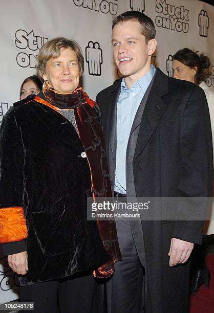 """Nancy Carlsson-Paige and Matt Damon during """"Stuck On You"""" - New York Premiere - Inside Arrivals at Clearview Chelsea Cinema in New York City, New..."""