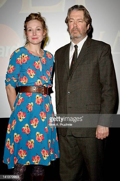 Nancy Carroll and Roger Allam announces the actors directors and productions up for the Laurence Olivier Awards at May Fair Hotel on March 15 2012 in...