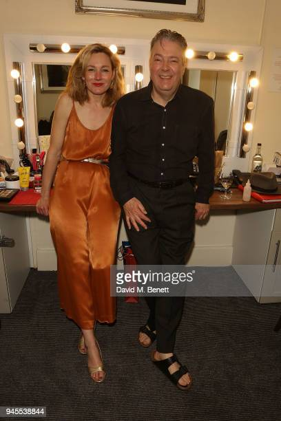 Nancy Carroll and Roger Allam pose backstage following the press night performance of The Moderate Soprano at the Duke Of Yorkâ Theatre on April 12...