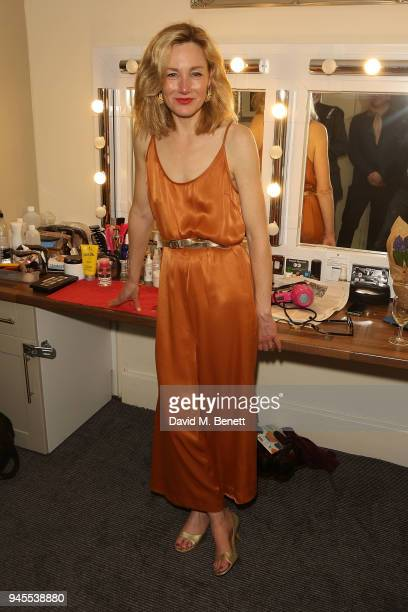Nancy Carroll poses backstage following the press night performance of The Moderate Soprano at the Duke Of Yorkâs Theatre on April 12 2018 in London...