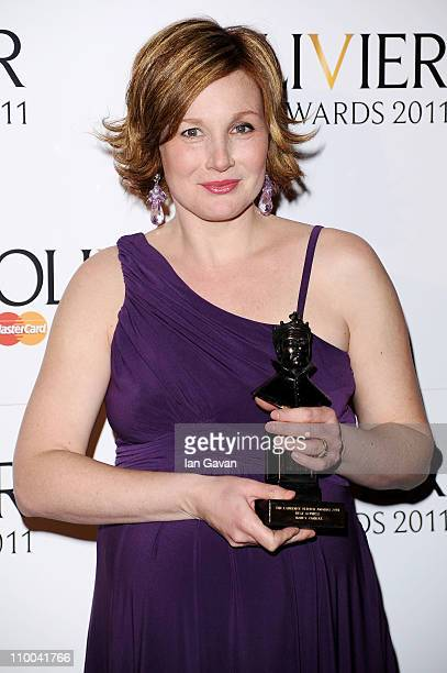 Nancy Carroll winner of Best Actress for After the Dance poses in the press room during The Olivier Awards 2011 at Theatre Royal on March 13 2011 in...